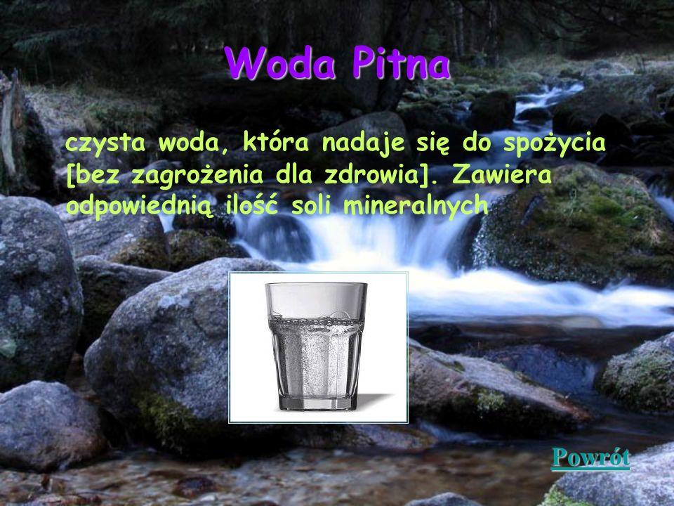 Woda Pitna czysta woda, która nadaje się do spożycia [bez zagrożenia dla zdrowia]. Zawiera odpowiednią ilość soli mineralnych.